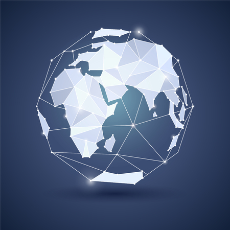 mainland: Globe or earth icon on dark blue background. Planet. Triangle style. JPG include isolated path