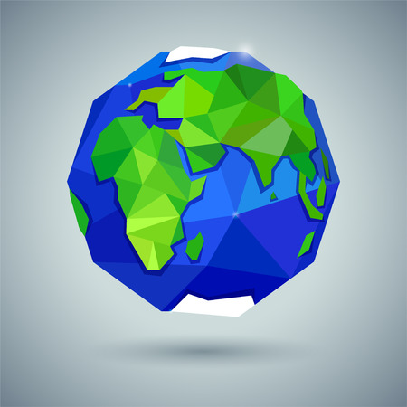Globe or earth icon on gray background. Planet. Triangle polygonal style. JPG include isolated path. eps10