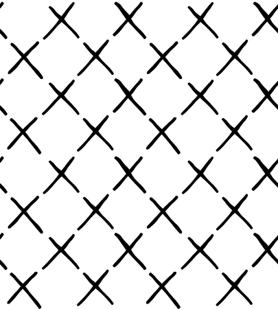 hand draw seamless pattern with crosses, X. Doodle style. Black line on white background