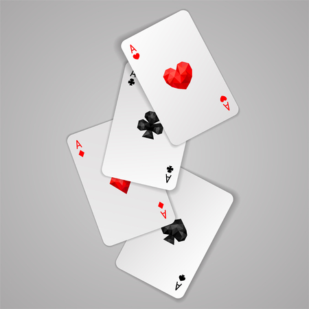 Set of four ace playing cards suits. Winning poker hand. JPG include isolated path Illustration