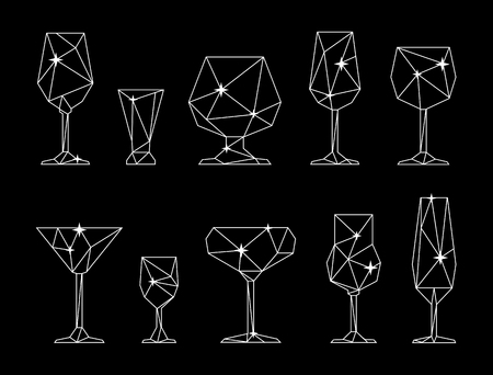 Set of triangle icon of wine, champagne, cocktail, tequila, martini, vodka glasses. Low poly style. White lines on black background 矢量图像