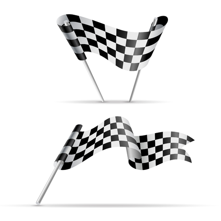 Set of checkered flags. Black and white sport banner. JPG include isolated path Illustration