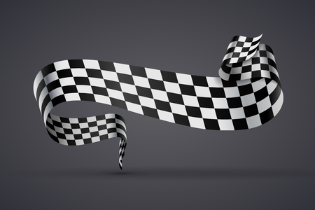 Black and white checkered curved flag or ribbon, sport banner on dark background. JPG include isolated path