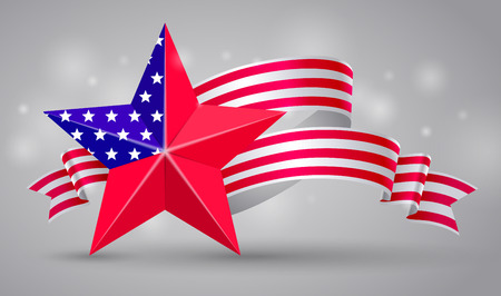 Banner with american flag curved ribbon and red star. USA banner of Independence and memorial Day. 4 July