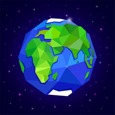 星と暗い青い空間に地球や地球。惑星。三角形のポリゴン スタイル  イラスト・ベクター素材