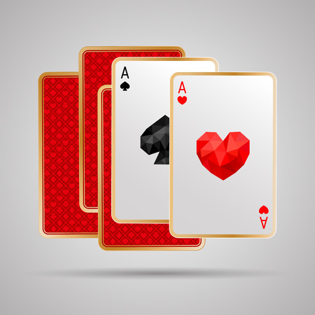 Two aces in five playing cards. One pair. Winning poker hand. JPG include isolated path Vectores
