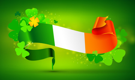 Green St. Patricks day holiday banner with Irish flag and clovers. Four leaf shamrock. Illustration
