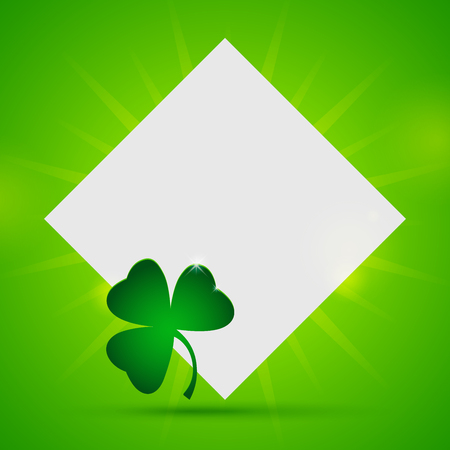 St. Patricks day banner with blank sheet of paper and clover on green background. Illustration