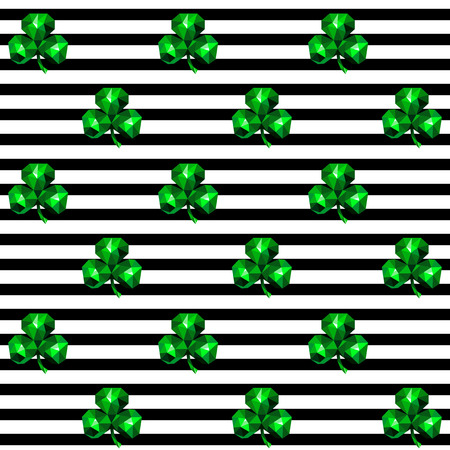 Seamless pattern with green emerald clover and black stripes on white background,  St. Patrick's Day wallpaper .