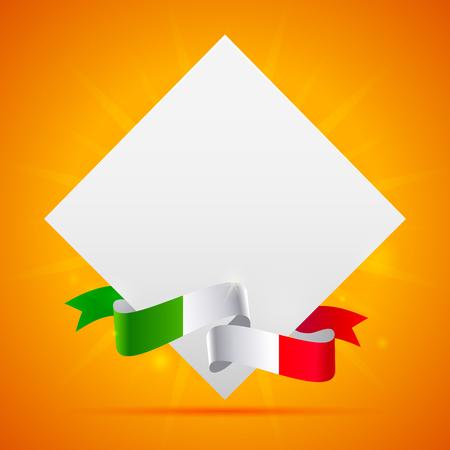 Orange background with italian flag ribbon and sheet of paper for design menu, sale or flyer Illustration