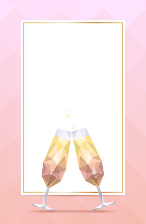 Background with champagne glass and golden frame with cope space for menu, invitation, holiday card. Polygonal style