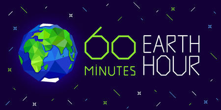 60 minutes Earth hour banner or poster vector illustration 일러스트
