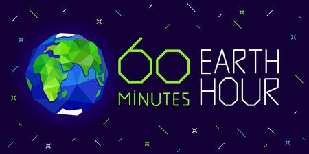 60 minutes Earth hour banner or poster vector illustration Ilustração