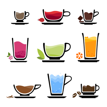 Set of cup of tea, coffee, water, milk or juice. Color icons of beverages. JPG include isolated path