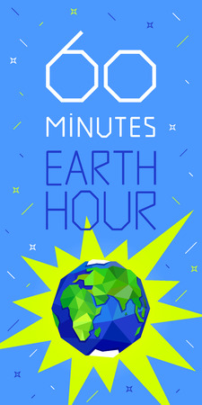 60 minutes Earth hour banner or poster. Earth, letters and stars on blue background. Geometric and polygon style