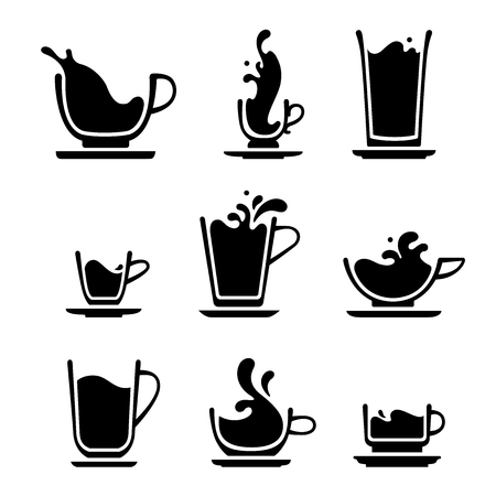 Set of splash silhouette cup of tea, coffee, water, milk or juice. Black and white icons. JPG include, isolated path.
