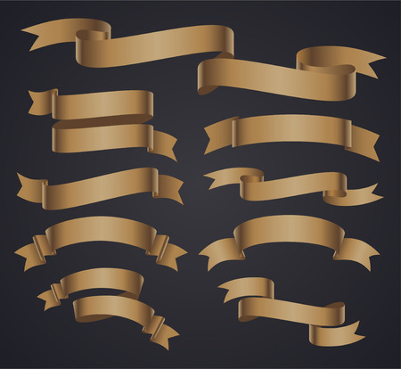 Set of beige curved ribbon or banner. JPG include isolated path Illustration