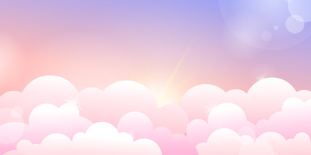 Sunset or sunrise sky and rose clouds. Horizontal vector illustration background 向量圖像