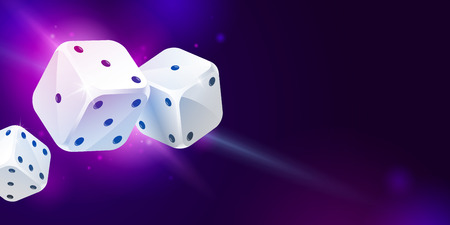 Shiny background with three white game dices and copy space on dark blue. Casino gambling. Poker, table craps