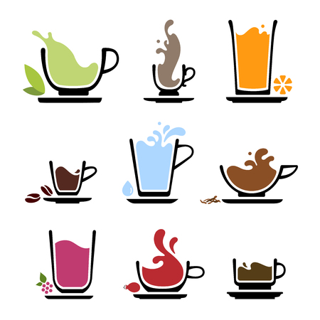Set of splash silhouette cup of tea, coffee, water, milk or juice. Color icons of beverages. JPG include isolated path