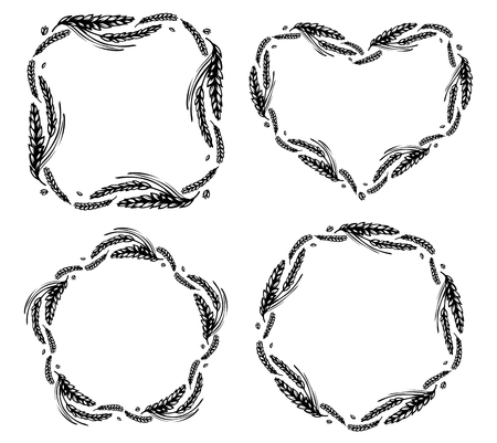 Set of wheat and malt round, heart, star and square frames or wreath on white background. Black and white hand drawn sketch for bakery, beer or labels design. JPG include isolated path Vettoriali