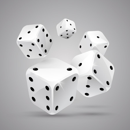 Five falling white game dices on grey background. Casino gambling. Pocker. Jpg include isolated path