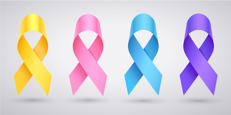 Set of awareness - pink ribbon breast cancer, yellow ribbon childhood cancer, lavender ribbon Day cancer, blue ribbon prostate cancer. JPG include isolated path