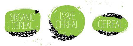 Set di cereali biologici, simbolo di set di cereali d'amore o adesivo. Stile disegnato a mano verde e nero