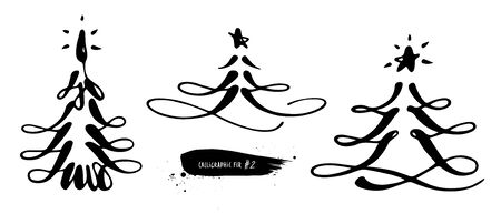 Set of holiday Christmas trees with star. Black and white in calligraphic style