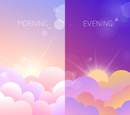 Morning and evening sky illustration with sun and clouds. Weather app screen, violet sunset and rose sunrise Stock Illustratie