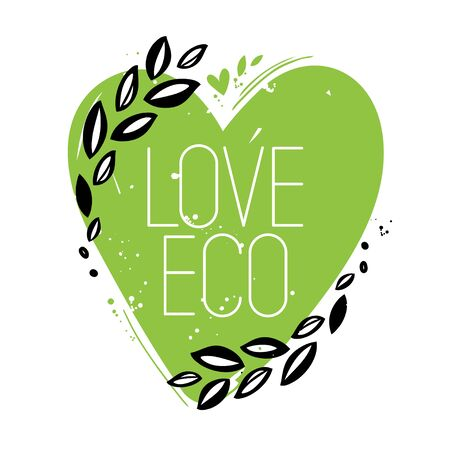 Love eco green heart symbol. Hand drawn style 일러스트