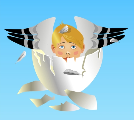 The boy with wings Was born from an egg Stock Vector - 7397408