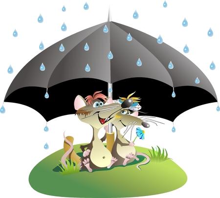 love in rain: Rat lovers under an umbrella Illustration