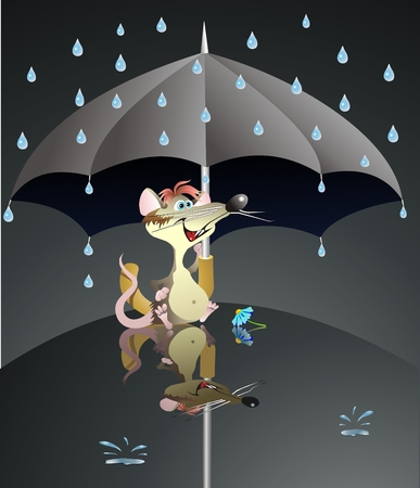 mouse in the rain and  umbrella Stock Vector - 7791508