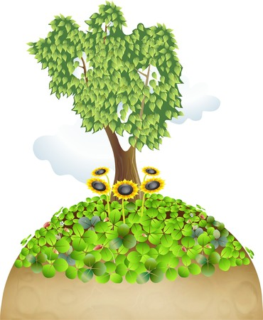 reviving the planet with a tree and grass