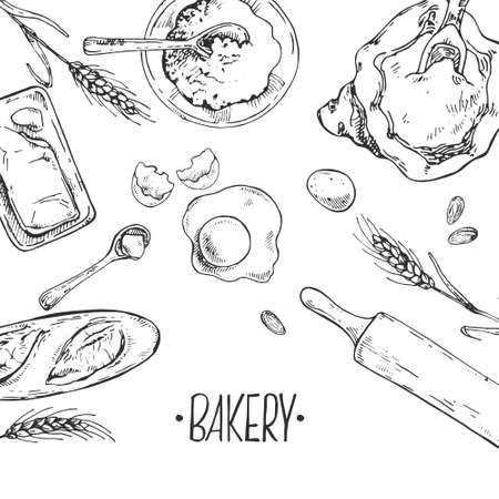 Hand drawn vector illustration of baking items and bakery. Pastry and bakery for fast food menu, cafe decor