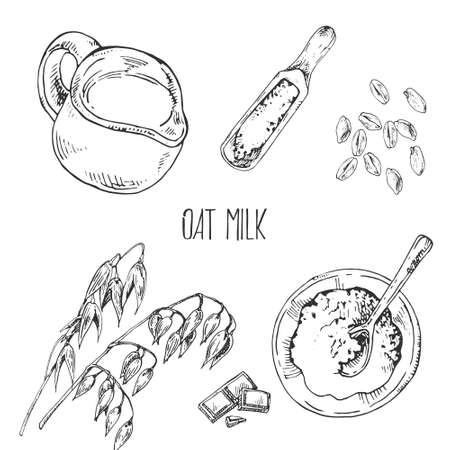 Hand drawn vector illustration of oat milk. Inventory and bake cooking products. Pastry and bakery for fast food menu, cafe decor Ilustração Vetorial