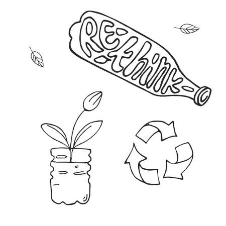 Hand drawn vector illustration of zero waste concept. Eco outline clipart for print, card, textil design. Rethink lettering. Reuse of plastic