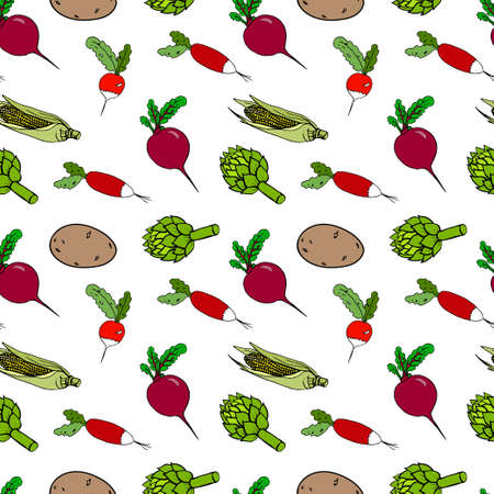 Vector seamless pattern with vegetables. Radishes, potatoes, corn, beets, artichoke hand-drawn, doodle style, isolated on white background. Healthy nutrition, natur products.