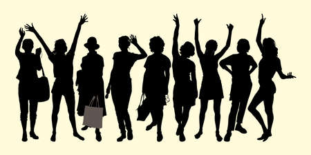 Vector silhouettes persons isolated group 9 standing in different poses women raised their hands up, waving affably, women with bags in hat, emotion of joy, holiday, happy people met Vector Illustration