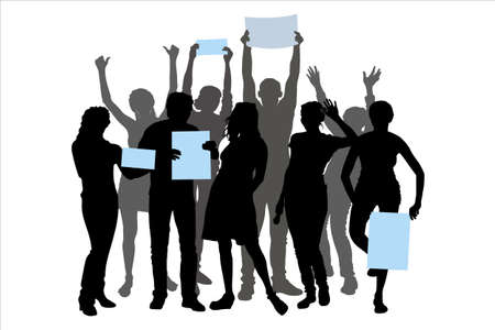 Vector silhouettes of a group of young people tourists, man and woman, stand in 2 rows isolated from each other, hands raised up. Girl holding a poster, strike, rally team of students on the holiday