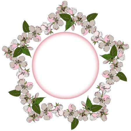 Vector spring frame with a pattern of blooming apple treeswhite-pink flowers intertwined with leaves, a star-shaped frame with a circle in center for text. For scrapbooks, web banners, greeting cards