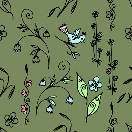 Vector seamless pattern hand-drawn floral elements for design textile, wallpaper. Doodle style, spring floral on green background