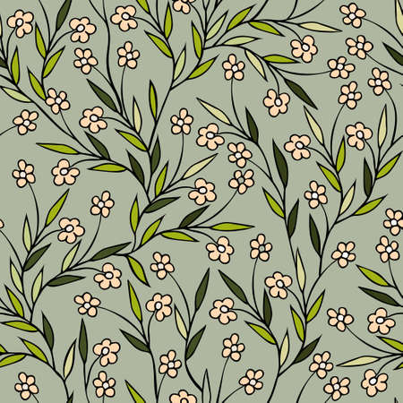 Vector seamless floral pattern with branching flower stems, doodle style, hand-drawn, for fabric design, wrapping paper, textile, scarf. Vetores