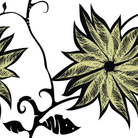Vector seamless floral tricolor pattern on white background. Black silhouette of twigs with leaves, large flower with yellow stroked petals. Freehand drawing.