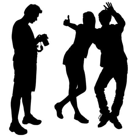 Vector silhouettes of a man with camera stand sideways, the girl and guy are posing, the boy is waving a friendly hand the girl stretched out his hand with a raised thumb and a super sign, excellent