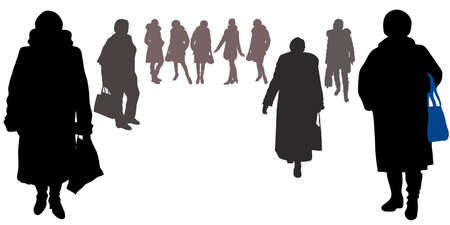 Vector female silhouettes in full growth in winter clothes with bags, fur coats, hats, boots. Women, girls different physique, poses and figures, isolated white background, go forward, stand sideways Vektorgrafik