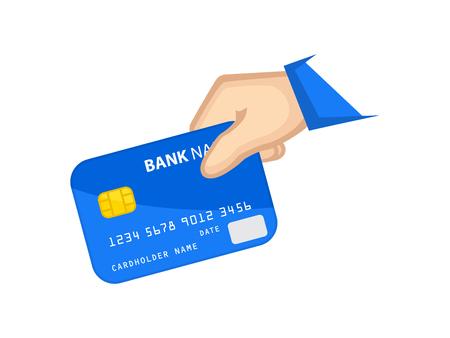 Pago con tarjeta bancaria de icono; mano que sostiene la tarjeta de banco en la ilustración de color.