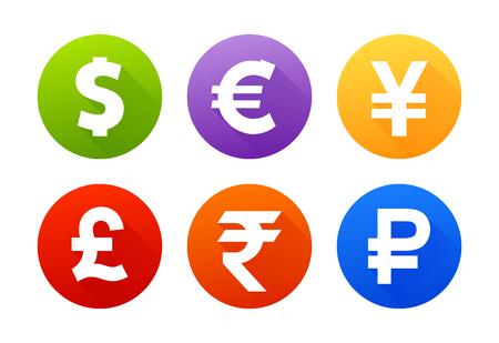 色付きのイラストに影を持つ通貨アイコンのセット。  イラスト・ベクター素材