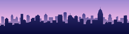City skyline landscape in silhoutte illustration. Çizim